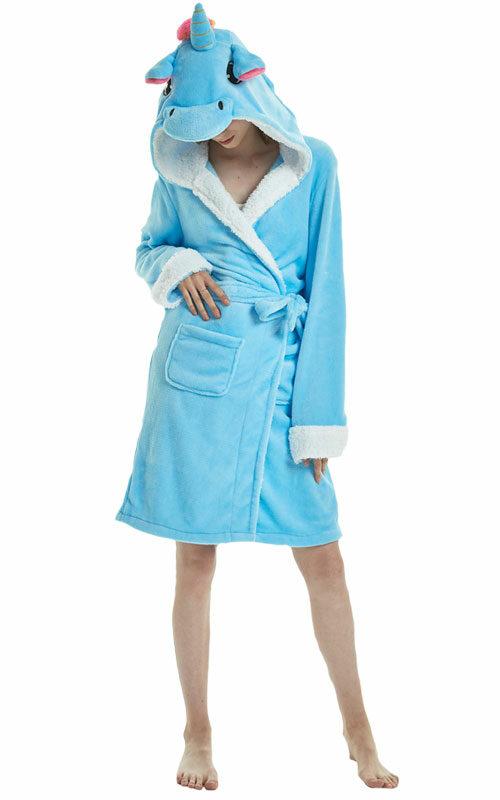 Blauwe Eenhoorn Badjas voor heren, dames, jongens en meisjes