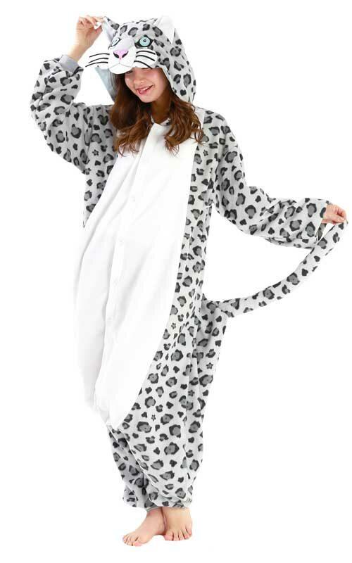 Sneeuw Luipaard Onesie voor heren, dames, jongens en meisjes